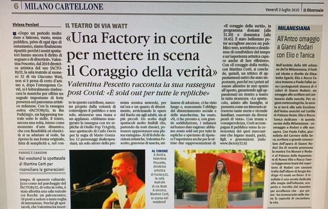Rassegna stampa: Factory32 su Il giornale